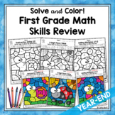 First Grade Math Review Color by Code Worksheets | Distanc