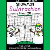 Snowman Subtraction (From 20) (Cut and Paste)