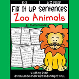 Zoo Animals Fix It Up Sentences
