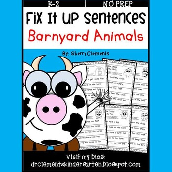 Barnyard Animals Fix It Up Sentences