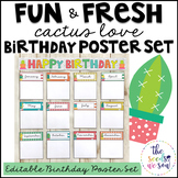 Cactus Classroom Decor: Birthday Poster Set