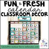 Cactus Classroom Decor: Calendar Set