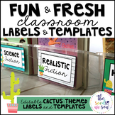 Cactus Classroom Decor: Editable Labels and Templates