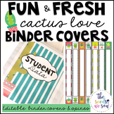 Cactus Classroom Theme: Editable Binder Covers and Spines