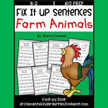 Farm Animals Fix It Up Sentences