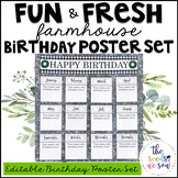 Farmhouse Classroom Decor: Birthday Poster Set