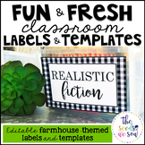 Farmhouse Classroom Decor: Editable Labels and Templates