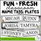 Farmhouse Classroom Decor: Editable Name Tags/Plates