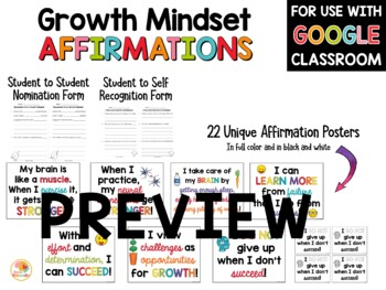 Growth Mindset Posters and Cards: Affirmations