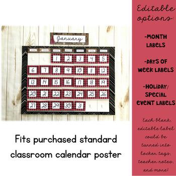 Lumberjack Classroom Decor: Calendar Set