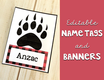 Lumberjack Classroom Decor: Editable Banner and Name Tags