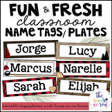 Lumberjack Classroom Decor: Editable Name Tags/Plates