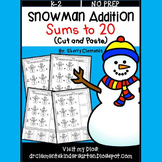 Snowman Addition Sums to 20 (Cut and Paste)