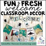 Travel Classroom Decor: Editable Banner and Name Tags