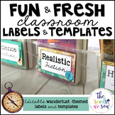 Travel Classroom Decor: Editable Labels and Templates