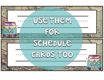 Travel Classroom Decor: Editable Name Tags/Plates