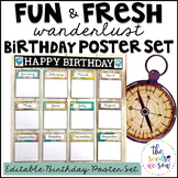 Travel Classroom Decor: Birthday Poster Set
