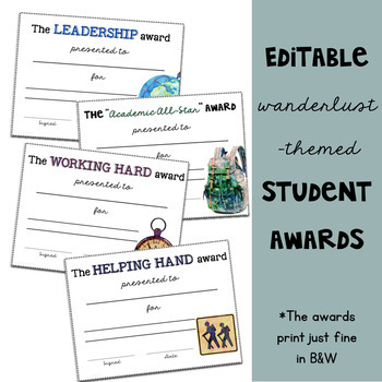 Travel Classroom Theme: Editable Awards and Incentives Set