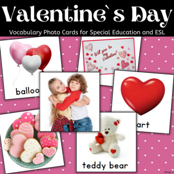 Valentine`s Day Vocabulary Flash Cards for Speech Therapy and Special Education