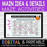 Main Idea Maze Activities | Google Classroom | Distance Learning