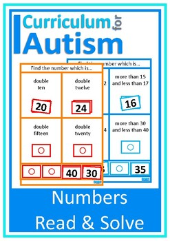 Autism Math Read and Solve Task Cards, Special Education,