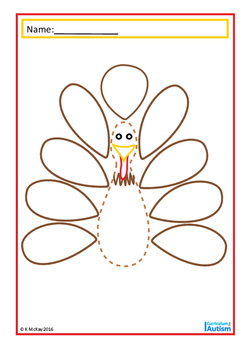 Thanksgiving Turkey Fine Motor Skills Drawing , Autism, Special Education