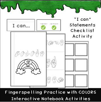 ASL Colors, Fingerspelling Practice, Interactive Notebook Activities