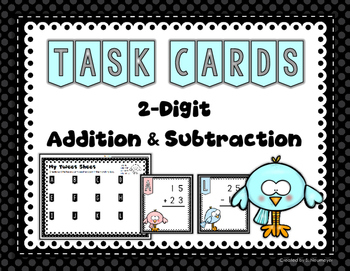 Owl Themed 2-digit Addition & Subtraction (without regrouping) Task Cards