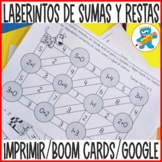 Addition and Subtraction to 20 Mazes in Spanish Printables, Boom Cards Google
