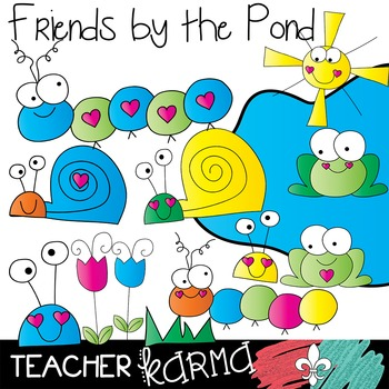 Animal Friends by the Pond Clipart ~ Commercial Use OK ~ Caterpillar