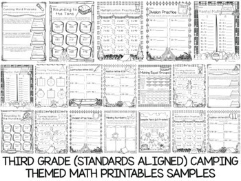 600 K-5 Camping Themed Anytime Printables Bundle