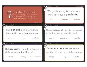 Context Clues Task Cards with Answer Choices (field of 3)