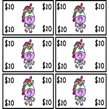Unicorn Dramatic Play Rewards and Behavior Money