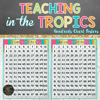1-120 Numbers Chart in Beach Theme