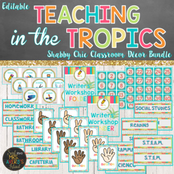 Beach Classroom Theme Decor Bundle - Editable