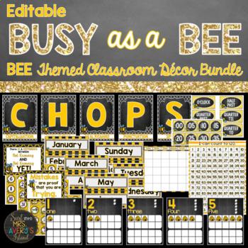 Bee Classroom Decor Bundle - Editable