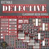 Detective Classroom Theme Decor Bundle Editable