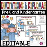 PreK and Kindergarten Graduation Diplomas and Invitations Editable