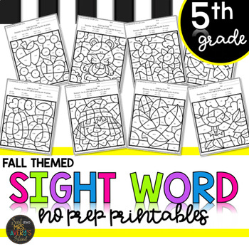 Fall Themed Fifth Grade Sight Words Color by Code Activities