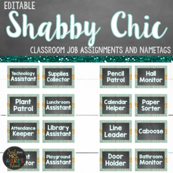 Farmhouse Shabby Chic Classroom Job Helpers