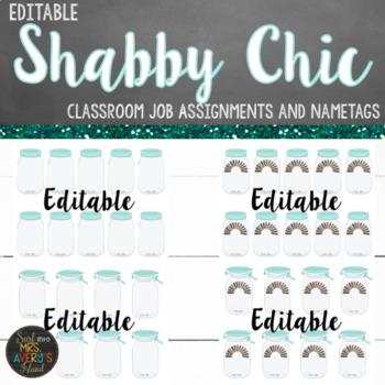 Farmhouse Shabby Chic Classroom Job Helpers