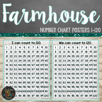 Farmhouse Themed Hundreds Chart Posters (1-120)