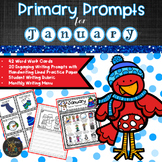 January PRIMARY Writing Prompts and Word Work with Practice Lines