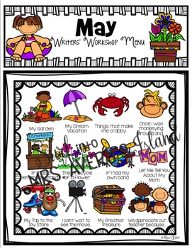 Monthly Writing Menus for Personal Narratives