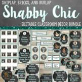 Shabby Chic Classroom Theme Decor Bundle - Editable