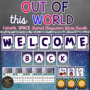 Space Classroom Decor Bundle - Editable