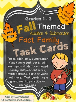 Fall Themed Fact Family Task Cards {Addition & Sub.}