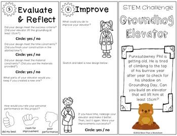 Groundhog Day STEM Trifold: Groundhog Elevator