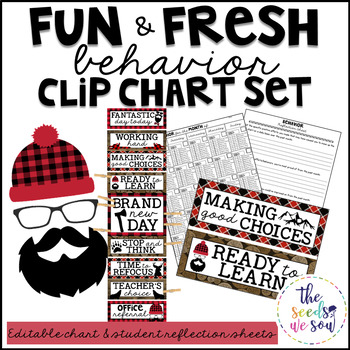 Lumberjack Classroom Decor: Behavior Clip Chart and Reflection Sheets