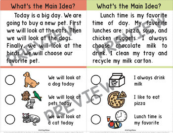 Main Idea with Picture Choices; Reading Comprehension